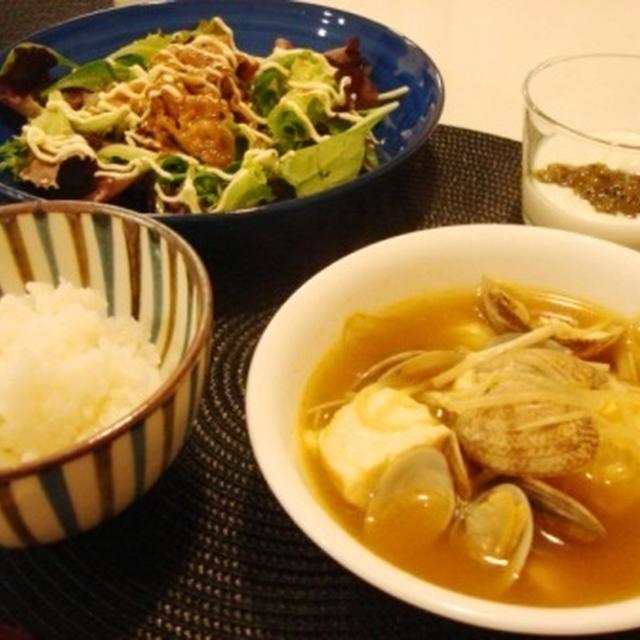 あさりと豆腐のチゲ風スープ