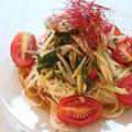 【簡単!麺レシピ】ミョウガと青じそとトマトのっけ素麺