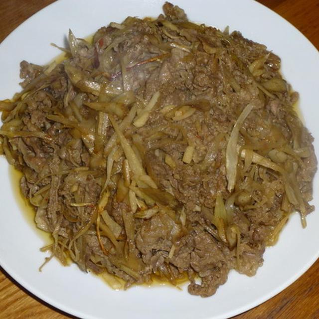 牛肉とごぼうのピリ辛オイスターソース炒め