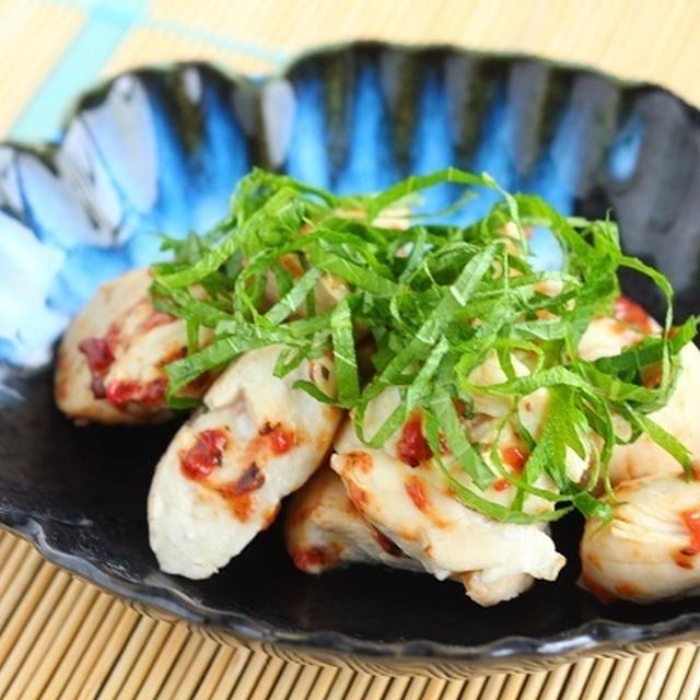 琥珀の料理酒レシピ【鶏ささみの梅しそ和え】