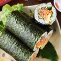 「さば缶サラダ海苔巻き」で、今年も恵方巻き作りの練習をしました。(笑)