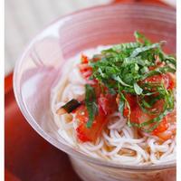 紫蘇でさっぱり!シンプルなキムチ素麺