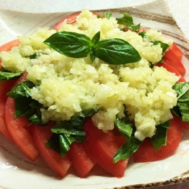 ドレッシングを作って玉ねぎとトマトのサラダ♪