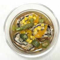 (レシピ)ゆば巻き焼き 夏野菜あんかけ