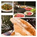 何年かぶりにウッドデッキで焼肉〜パン焼きはバタール・レシピは角煮です