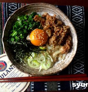 【簡単!!】台湾混ぜそばっぽい見た目の肉混ぜうどん