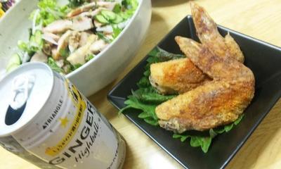 サッポロ☆ジンジャー ハイボール「モラタメ」+自家製野菜のコールドチキンサラダ(キッチン ラボ)