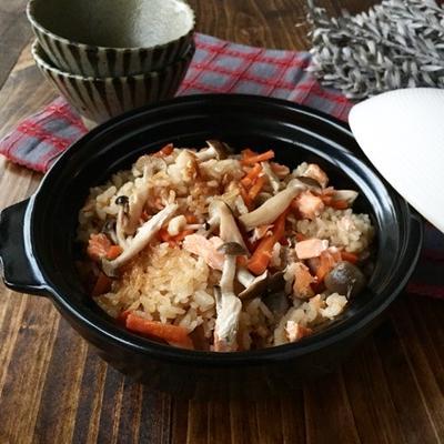 お釜にポンで【塩鮭ときのこの炊き込みご飯】簡単