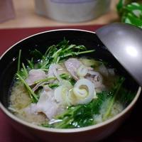 <ヤマキだし部>豚バラ肉と豆苗の 味噌汁