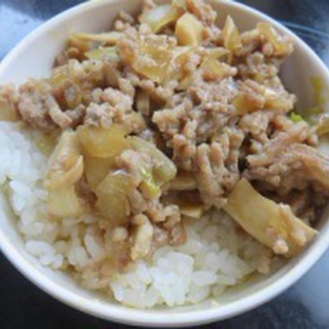 ひき肉の甘辛煮丼♪