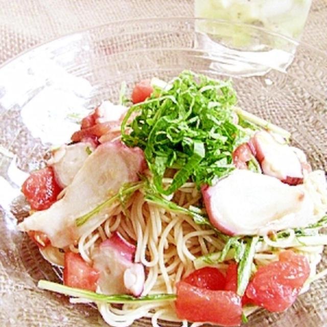 夏に嬉しい☆タコと水菜の冷製パスタ