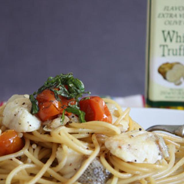 グリルトマトとタラのスパゲティー、トリュフオイル風味