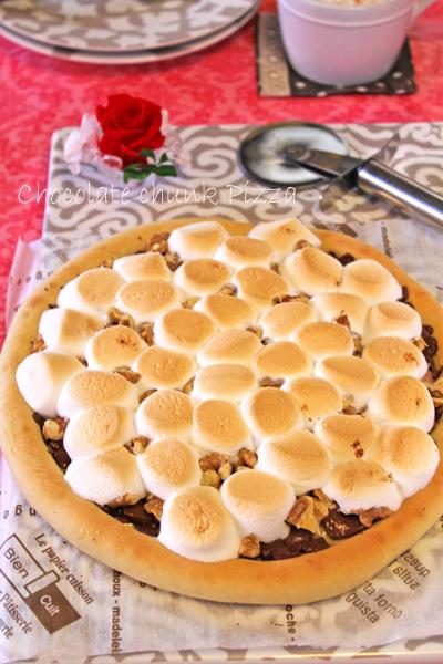 チョコレートチャンクピザ風バレンタインチョコマシュマロピザ