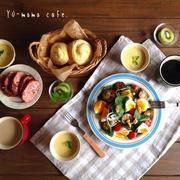 誕生日の朝〜朝食*ズッキーニとほうれん草のクルミサラダ*スイートポテトロール*つぶつぶコーン*