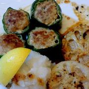 ヒガシマル 牡蠣だし醤油を普段使いに☆ピーマンのひき肉詰めとレンコンはさみ焼き☆☆☆
