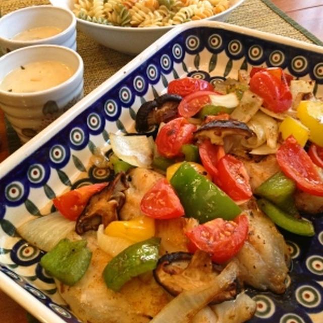 アメリカでおうちごはん ラタトゥイユ風野菜とお魚のグリル
