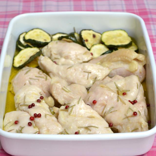 鶏むね肉のコンフィ。のサラダプレート。にんじんジュレのちくわオクラ。の晩ご飯。