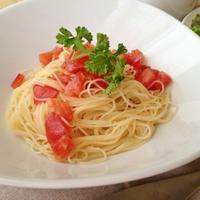 冷製トマトとモロヘイヤのカッペリーニ