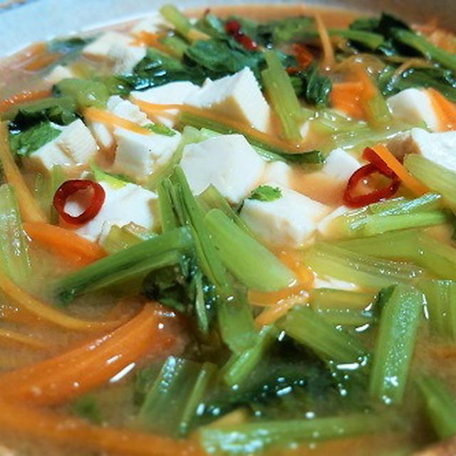レンジで作る!豆腐と小松菜の味噌煮(^o^)/