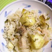 塩豚と栗と塩こぶの炊き込みご飯