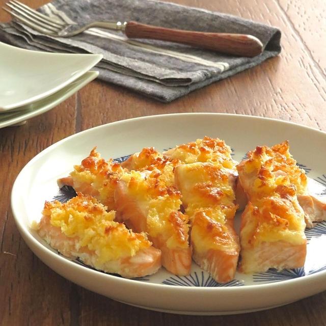 トースターで簡単調理☆鮭のマヨチーズパン粉焼き☆お弁当にも◎