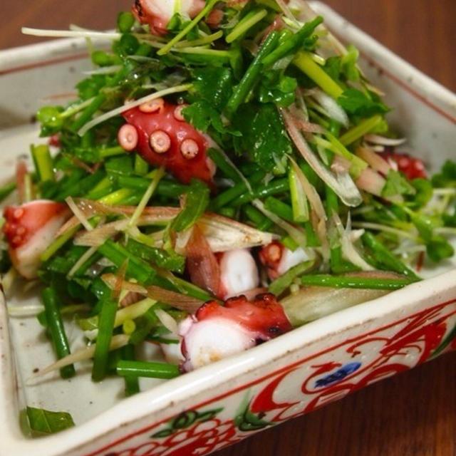 蛸の香味サラダと鶏そぼろ