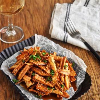 【レシピ】カリカリ揚げごぼうの照りマヨ和え #カリカリ#食材1つ#簡単
