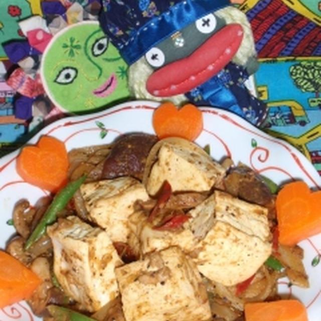 豆腐とツナのカレー炒め&グリーンアスパラとキクラゲの辣マヨサラダ(お家カフェ)