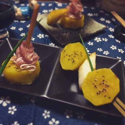 じゃが芋の品種「アルタイ彦星」を使って白葱と生ハムのピンチョス