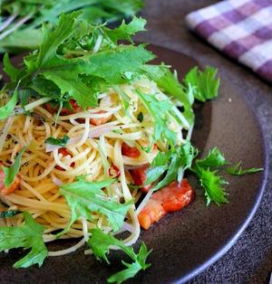 【超簡単!】水菜とベーコンのオイルパスタ