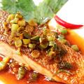 鮭のソテー☆酢醤油ラー油ソース