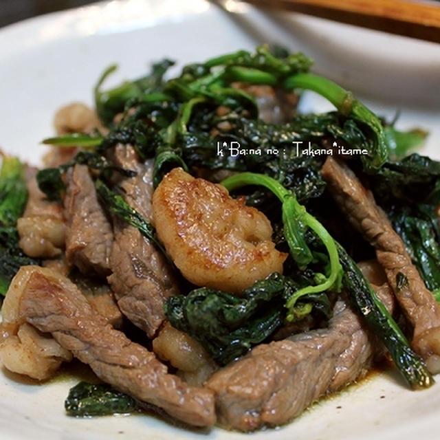 高菜と牛肉の、炒めもの