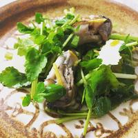 牡蠣とセリ、ゆずのサラダ
