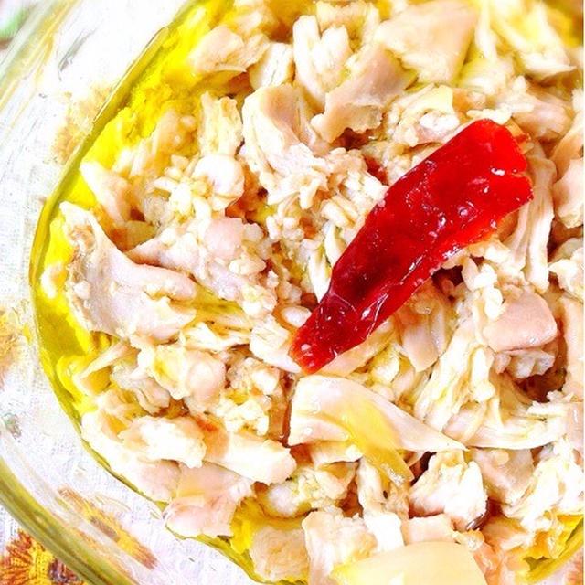 胸肉のオイル煮でチキンフレーク