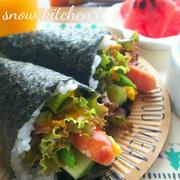 スムージードレッシングをかけて☆簡単手巻き寿司