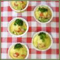 卵1個でつくる♪カップケーク・サレ(かにかまとブロッコリー)