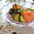 オウチで懐石料理『和田倉』風の前菜☆白だし漬け海老と野菜の酢の物ゼリー寄せ