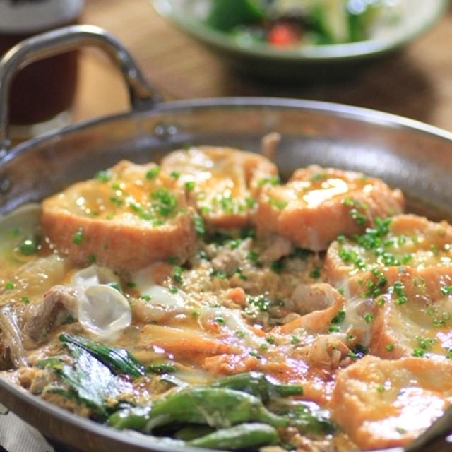 仙台麩と豚キムチの玉子とじ