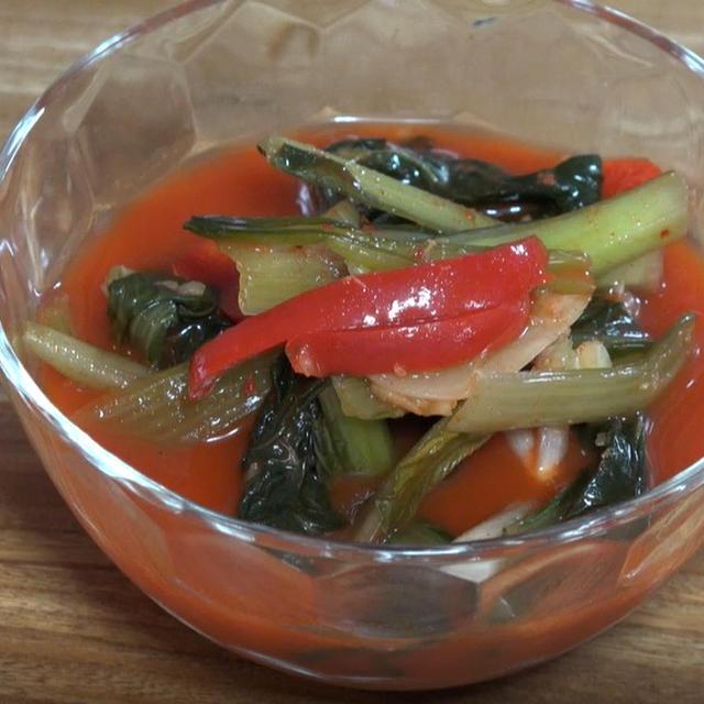 小松菜水キムチ作り方レシピ ーー 春・秋の水キムチは濃厚汁に!
