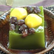 秋の和菓子「栗と白あんの抹茶かん」