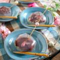 ラップで作る!桜とあんこの茶巾寒天ゼリー♪