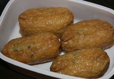 2月9日  夕方飯  青菜御飯の お稲荷さん