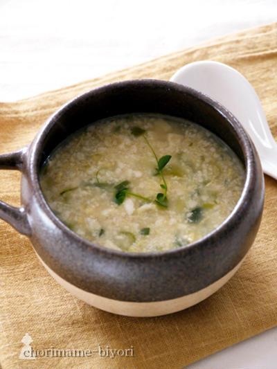 2日分晩ご飯より。くずし豆腐と卵の中華スープ。粉ふき味噌バターかぼちゃ。とか。