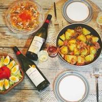 10/15(日)夜ごはん:JACOB'S CREEKワイン+ジャーマンポテト&シーフードマリネ