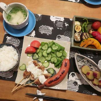 エスニックつくねと夏野菜の焼き浸しの晩ご飯 と 『風蘭』♪