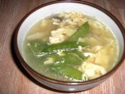絹さやの中華スープ