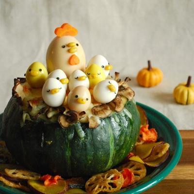 丸ごとかぼちゃのデコグラタン☆#デコグラタン