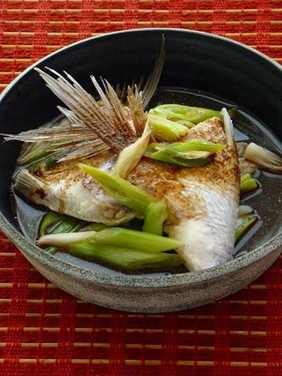 鯛のカマで2品 レンジ蒸しと鯛ラーメン