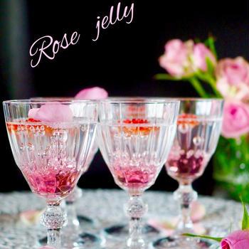 【初夏の爽やかゼリー】薔薇のキラキラゼリー