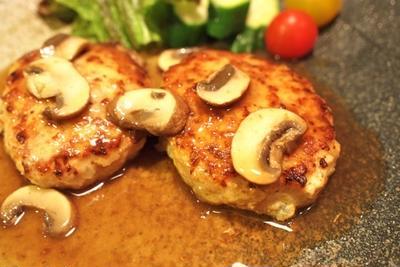 鶏のハンバーグ&豆乳スープのヘルシーメニュー